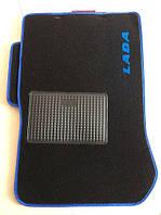 Ворсовые коврики для ВАЗ 2108/09/13-15 синий кант и логотип LADA, Carrera