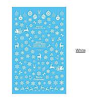 Наклейки Новогодние - снежинки, олени, новогодний игрушки и т.д. Цвет - белый , фото 1