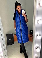 Женская длинная стеганная жилетка на молнии с капюшоном, фото 1