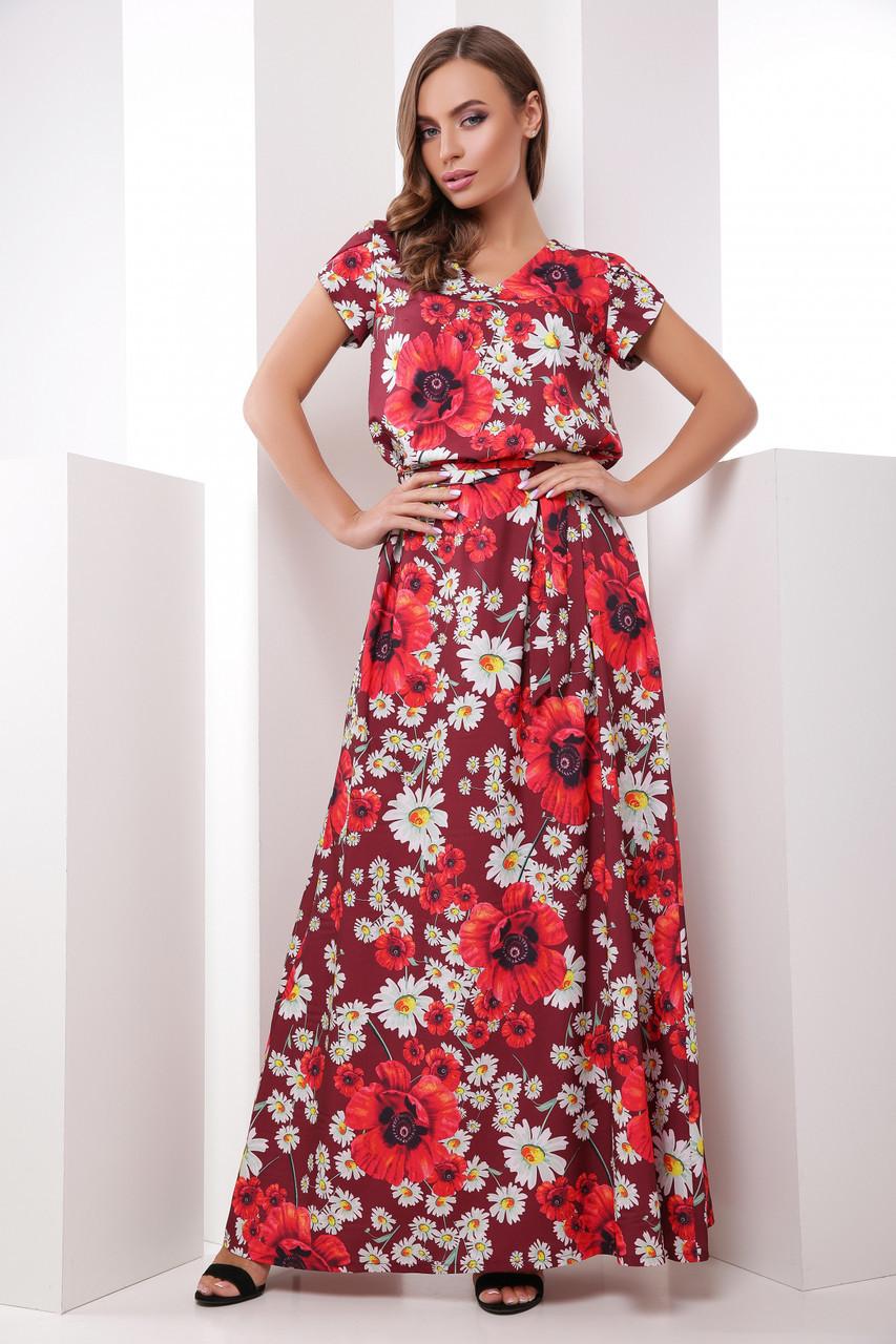 746e26e6410 Красивое Длинное Летнее Платье-сарафан в Крупные Цветы Бордовое — в ...