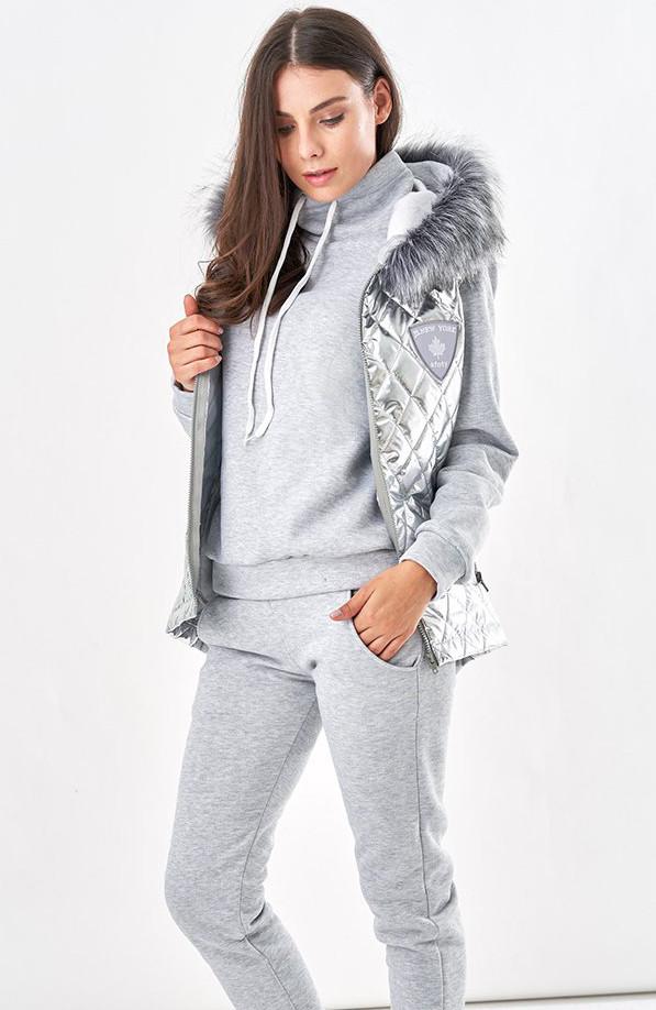 a02718c5 Женский теплый спортивный костюм тройка серого цвета. Модель 19889. Размеры  42-46