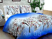 Бязь Gold Цветущая вишня на голубом 1007