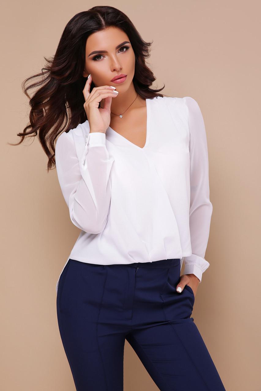 Нарядная белая шифоновая блузка с длинными рукавами и гипюровой вставкой на спинке Айлин д/р