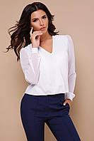 44b0abe4956 Нарядная белая шифоновая блузка с длинными рукавами и гипюровой вставкой на  спинке Айлин д р