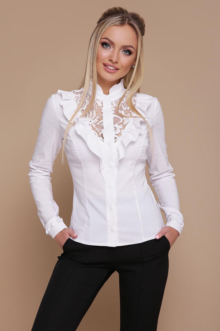 6e8a151aef7 Красивая белая блуза с гипюровой вставкой и оборками спереди Амина д р  длинный рукав -