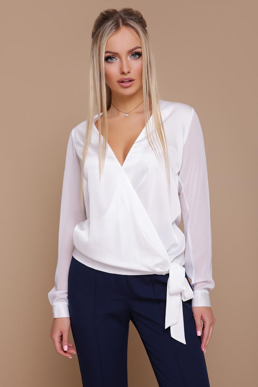 b746cf61e6c6 Элегантная шелковая блузка на запах с шифоновыми рукавами Божена д/р белая