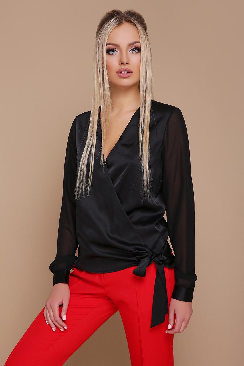 18e75c6b0731 Стильная черная блузка из шелка с запахом и длинными шифоновыми рукавами  Божена ...