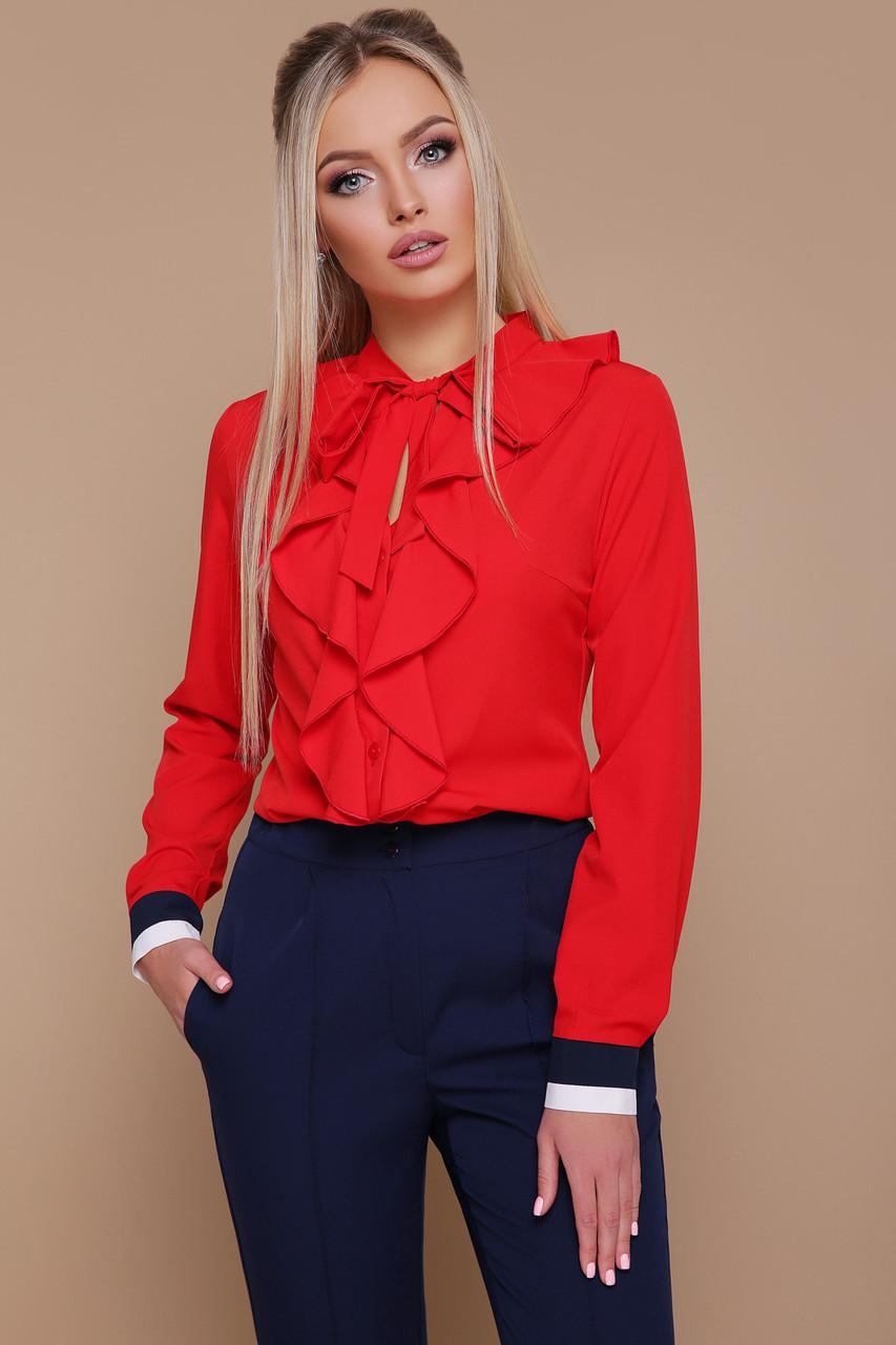 Стильная красная деловая блузка с жабо Бриана д/р длинные рукава