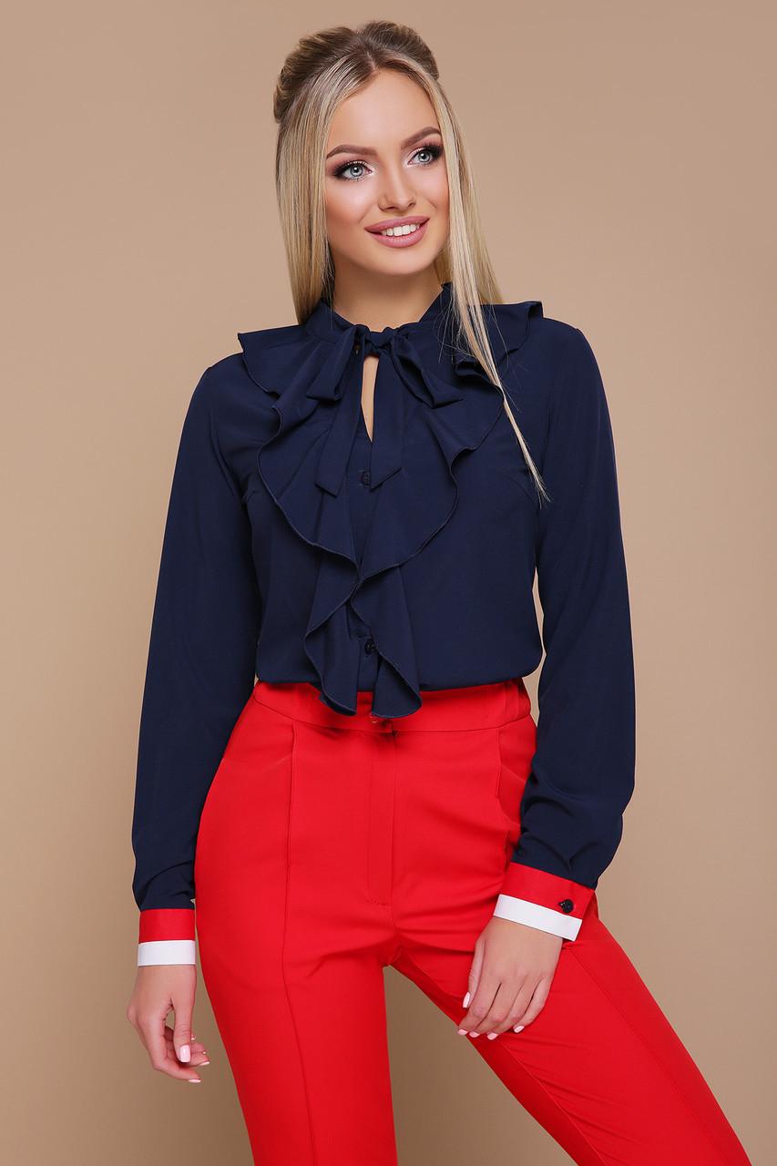 875210dc379 Модная Легкая Офисная Блузка с Жабо Бриана Д р Темно-синяя — в Категории