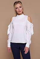 Оригинальная белая блузка с длинными рукавами и вырезами на плечах, воротник-стойка Варвара д/р