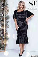 Шикарное бархатное платье с воланом с 42 по 54 размер, фото 1