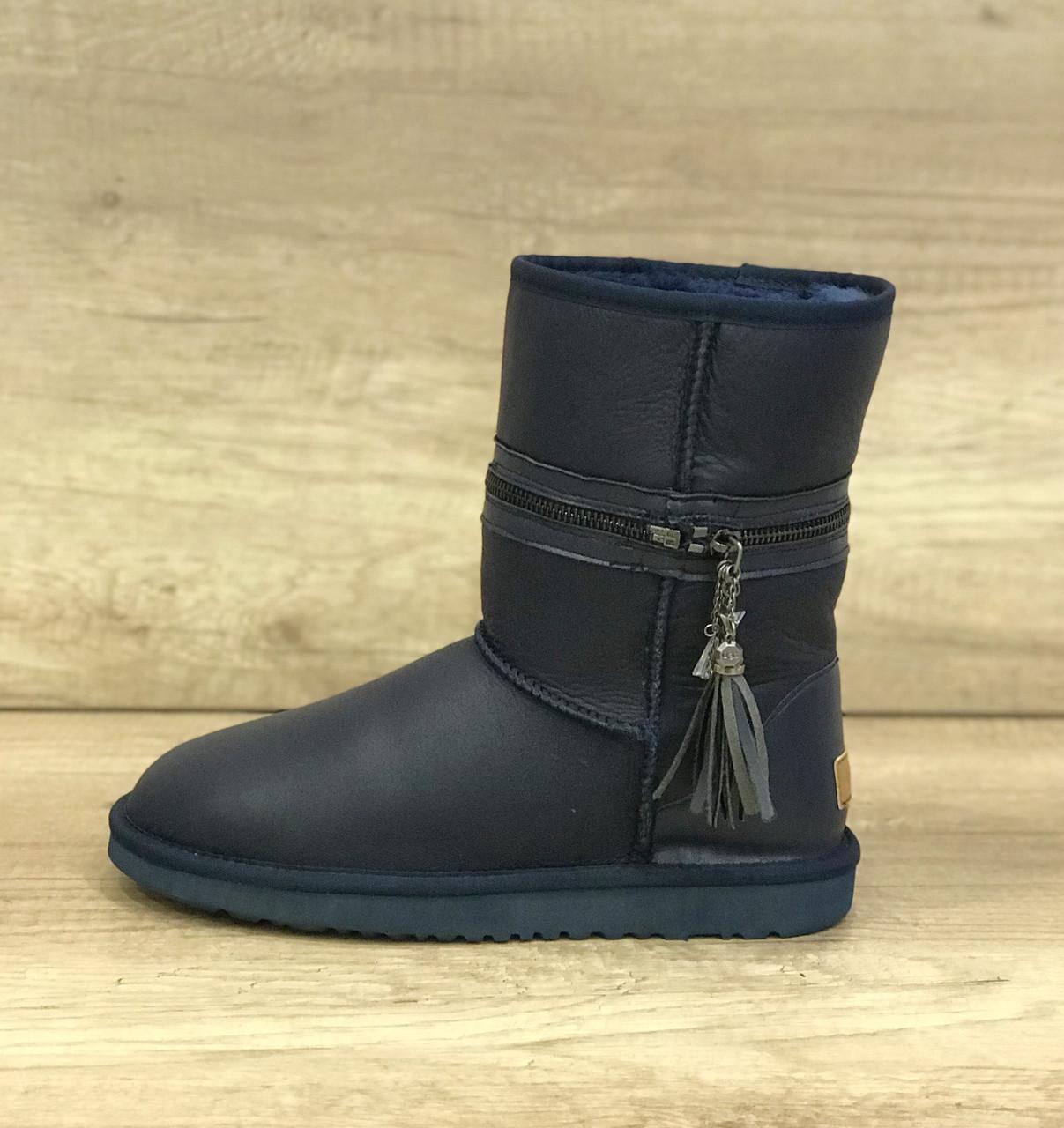 Синие кожаные угги с разделяющей молнией UGG Zipper Navy Leather