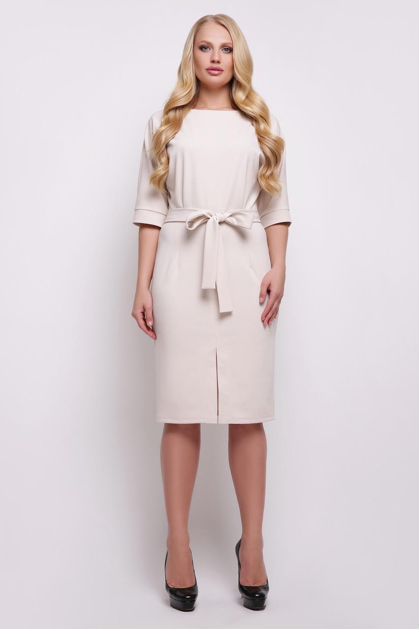 Женское однотонное базовое платье миди с широкими рукавами и пояском Руся-Б к/р большие размеры, светло бежевое