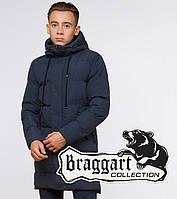 """Удлиненная зимняя куртка на подростка Braggart """"Youth"""" (Бреггарт """"Юз"""") синего цвета - XL"""
