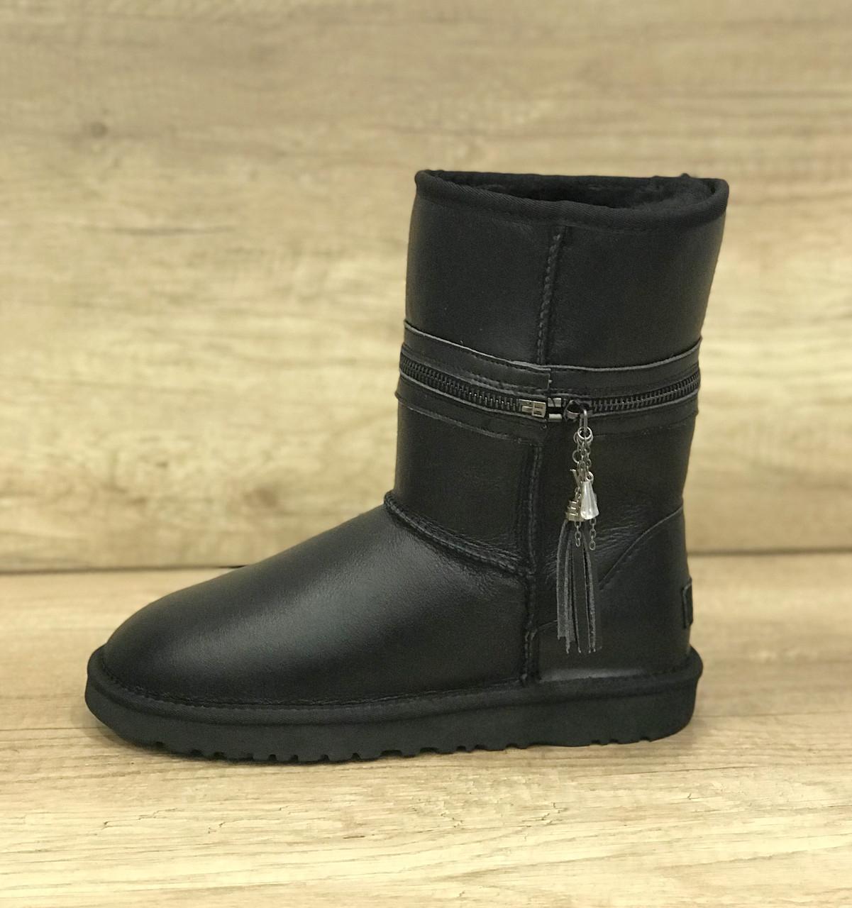 Черные кожаные угги с разделяющей молнией UGG Zipper Black Leather