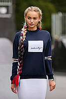 Молодежный женский свитшот с разрезами на локтях кофта Ламоли д/р темно-синий