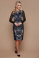 Черное коктейльное нарядное платье-футляр до колен с длинными прозрачными рукавами Геометрический узор Лина-2КС д/р