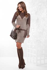 Оригинальное вязаное женское платье-туника с пояском цвет коричневый-кофе