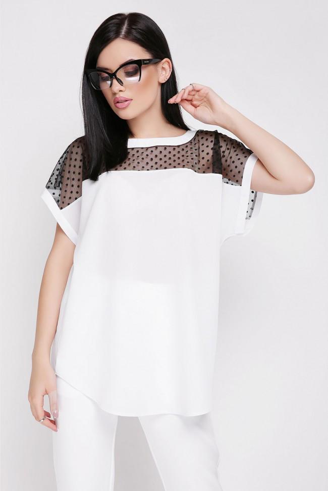 """Свободная летняя блуза с вставкой из сетки """"Verona"""" белая"""