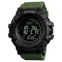 Skmei 1358  processor зеленые мужские часы с шагомером и барометром