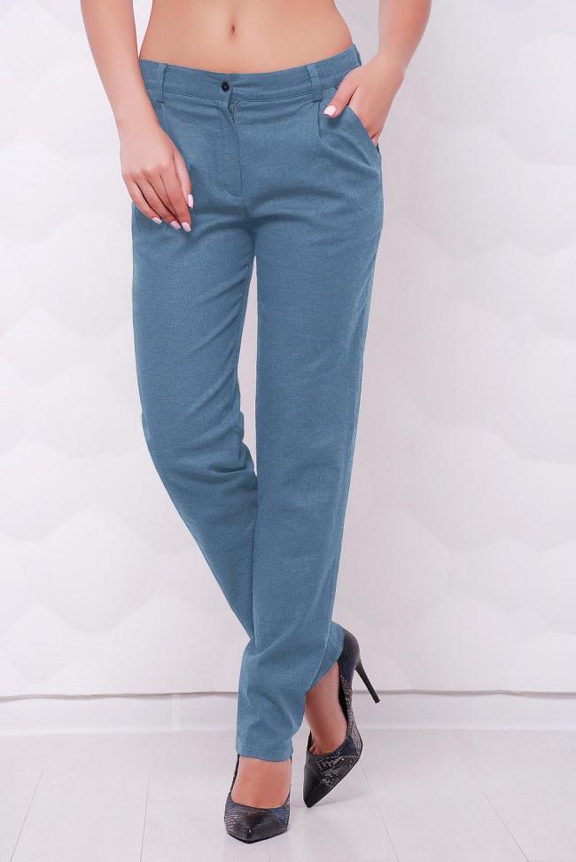 """Легкие льняные женские брюки с карманами """"Ninel"""" светлый джинс"""