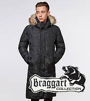 Пальто мужское Braggart «Юз» зимнее черное с камуфляжем - размер M