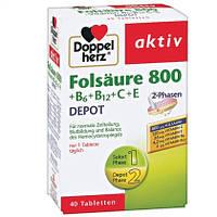 Doppelherz  aktiv Folsäure 800 + B6, B12, C & E - Пищевая добавка с фолиевой кислотой и витаминами