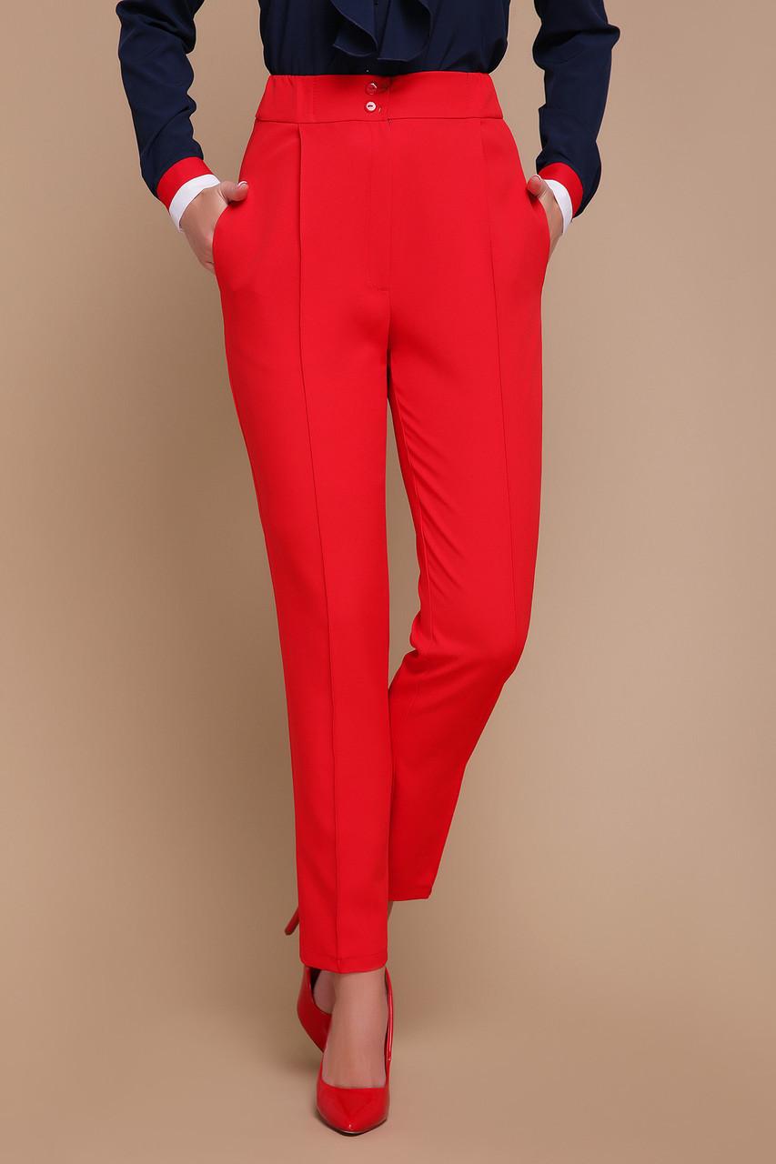 Стильные женские деловые брюки на талию со стрелками Бенжи красные