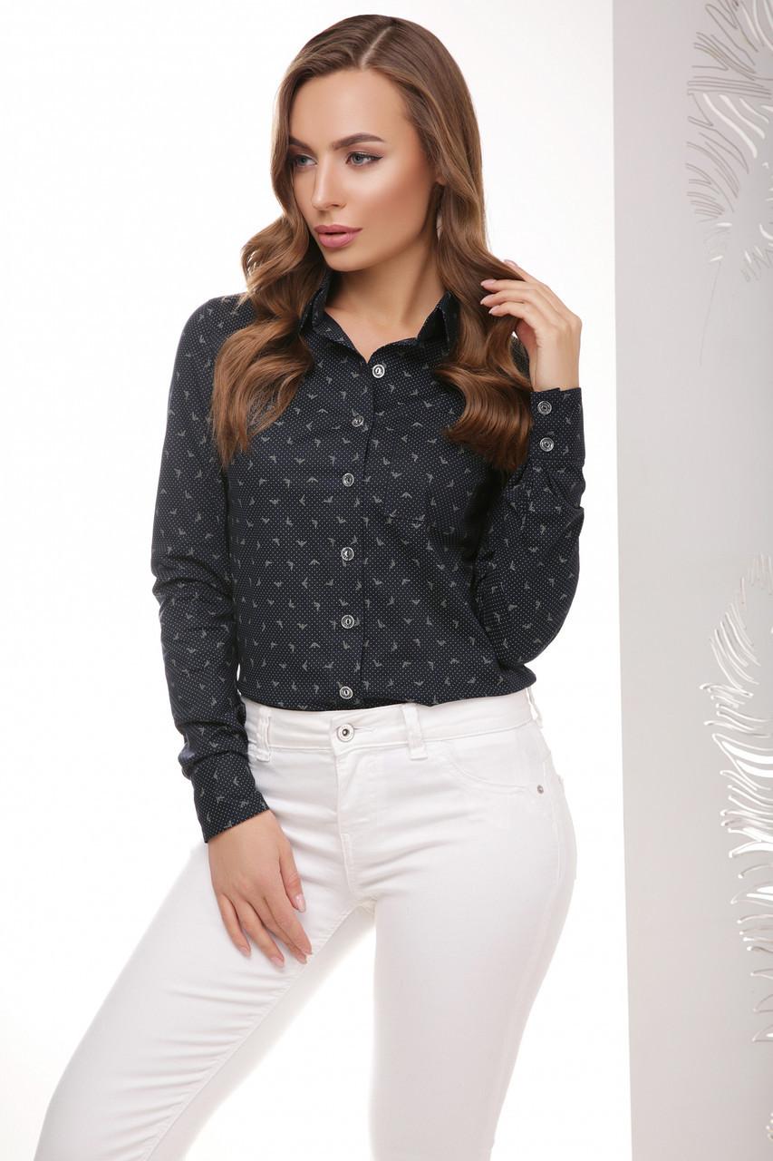 a2ccd6faf88 Классическая женская деловая рубашка с длинными рукавами темно-синяя армани