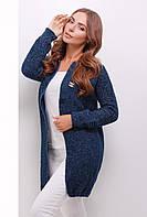 Стильный женский меланжевый вязаный прямой кардиган на одну пуговицу цвет сине-серый меланж