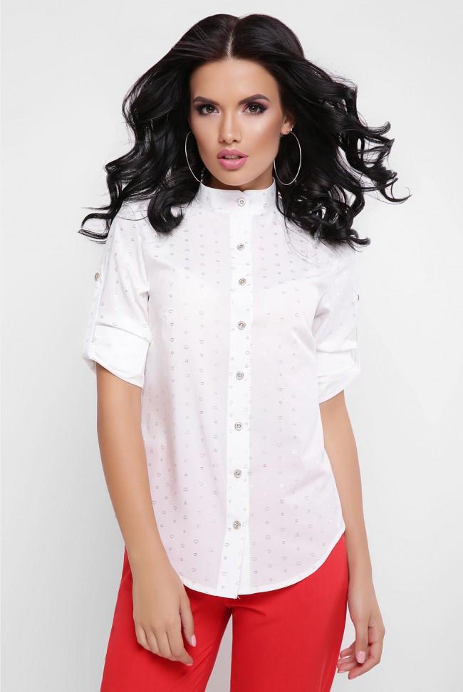 13a5b087da3 Женская блузка на пуговицах рукав-трансформер белая - Интернет-магазин