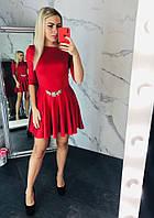 Новинка 2018-2019!Нарядное, женское мини-платье из дайвинга с расклешенной юбкой и камнями РАЗНЫЕ ЦВЕТА, фото 1