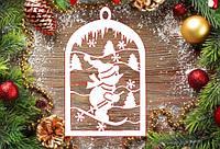"""Новогодний декор, резная игрушка """"Снеговик на лыжах"""" из пенопласта, 20*4 см, 30*4 см, 40*4 см"""