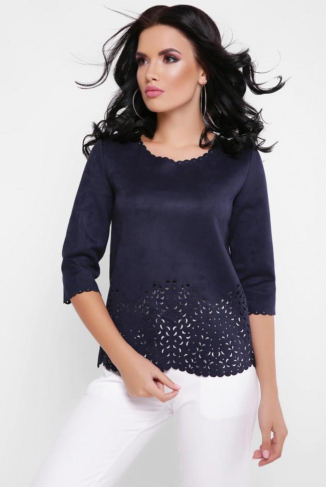 Нарядная женская кофта с рукавом 3/4 темно-синяя