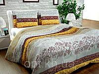 Бязь Gold Желтые, коричневые полосы, растительный орнамент 1016-1
