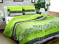 Бязь Gold Зеленые, серые полосы, растительный орнамент 1016-2 green