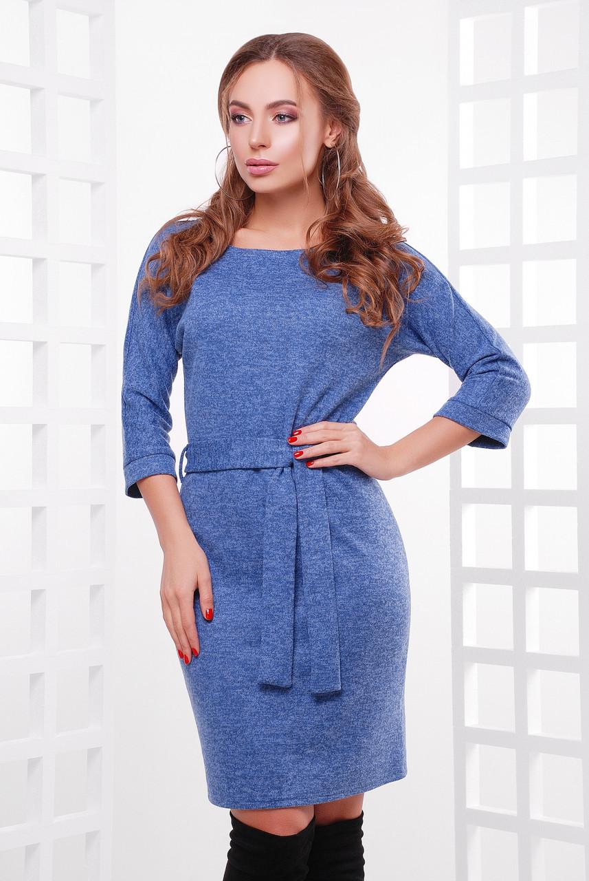 Однотонное прямое платье из ангоры с пояском, синий меланж