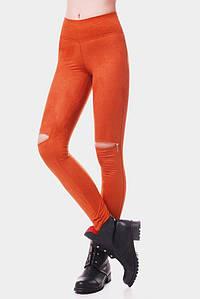 Классические повседневные женские лосины с эко замша с разрезами на коленях