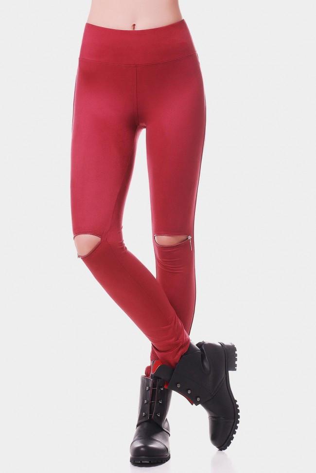 Классические женские лосины с эко замша с разрезами на коленях