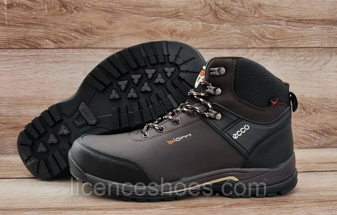 Мужские коричневые зимние ботинки кроссовки Ecco Biom