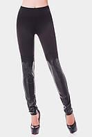 Классические женские лосины черного цвета средней посадки со вставками с эко кожи