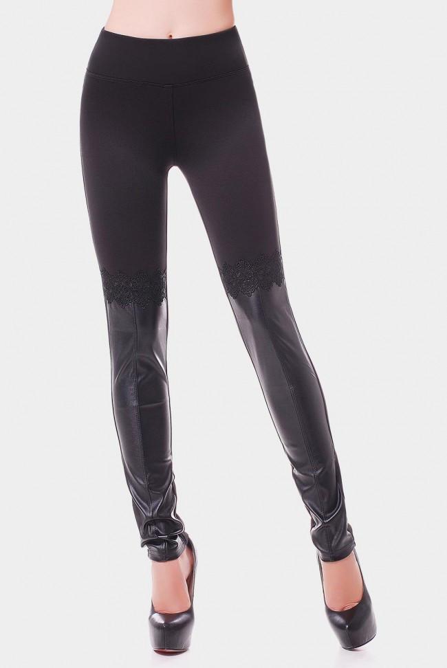 13e7b38e886be Классические женские лосины черного цвета средней посадки со вставками с эко  кожи