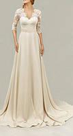 Свадебное платье в пол А-силуэта с поясом, кружевом,открытой спиной и рукавами  CB-2272