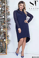 Стильное трикотажное платье с хвостом с 48 по 54 размер, фото 1