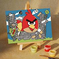 Картина на холсте Angry birds и крепость (MC014) 20х30 см