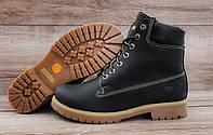 Женские зимние ботинки Timberland Black Натуральная кожа и мех