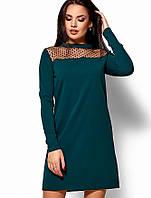 Женское однотонное платье с сеточкой на груди(Рубиkr)