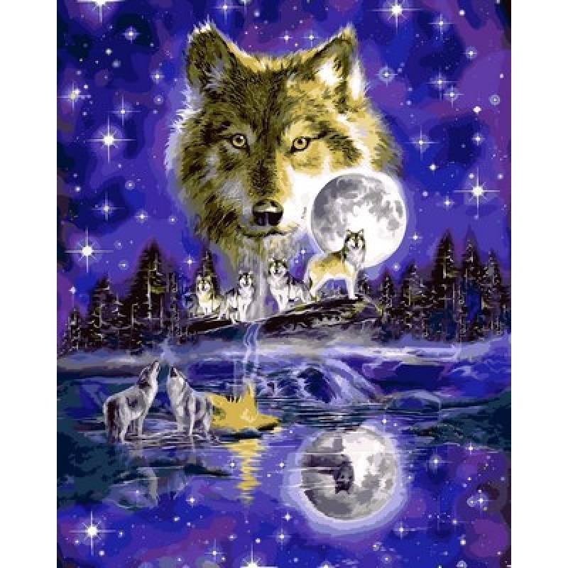"Картина по номерам 50х40см Babylone Turbo ""Волчья луна"""