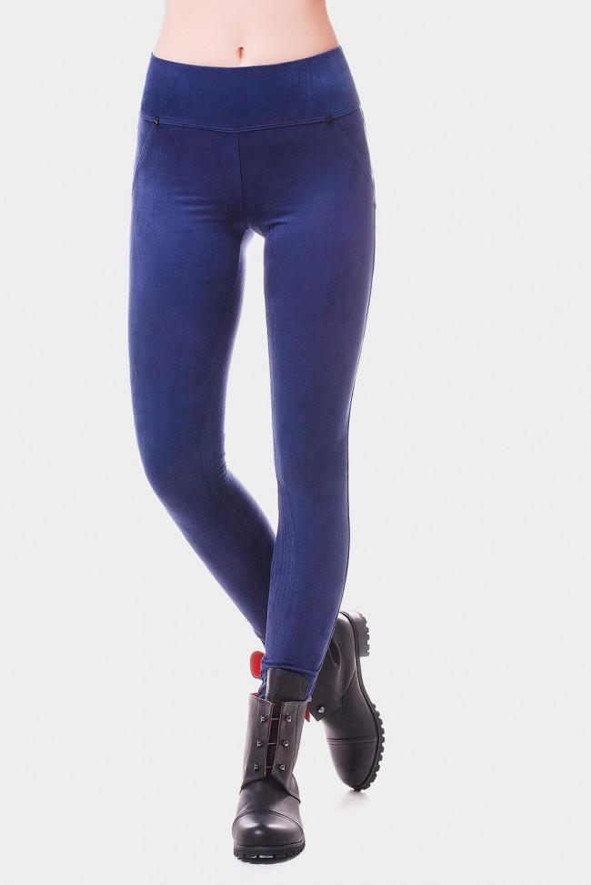 Классические синие лосины из мягкого  средней посадки с карманами