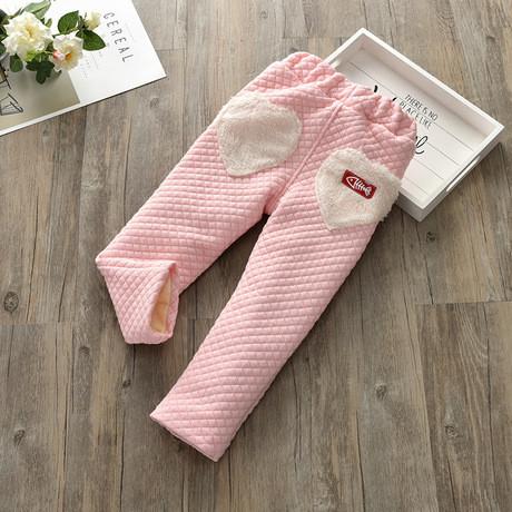 Штаны детские утепленные на девочку зима на плюше розовые